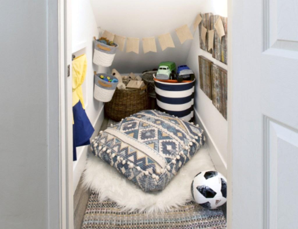 kids fort playroom coat closet