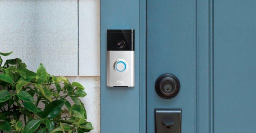 ring doorbell on blue front door