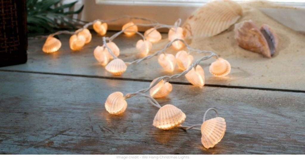 seashell string lights on floor lit up