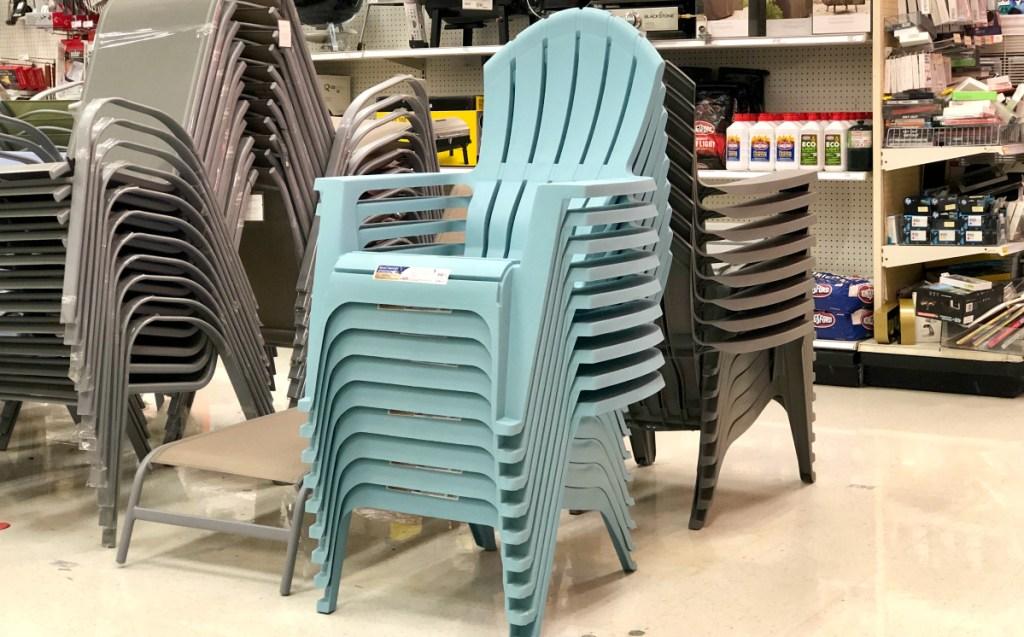 stack of Adams RealComfort Resin Adirondack Chairs