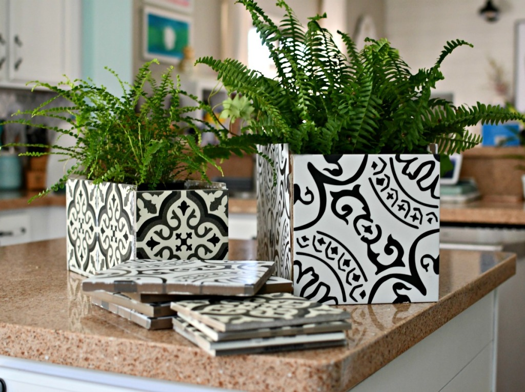 2 sizes of diy tile planters on counter