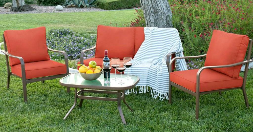4-Piece Outdoor Patio Furniture Set - Red or Beige