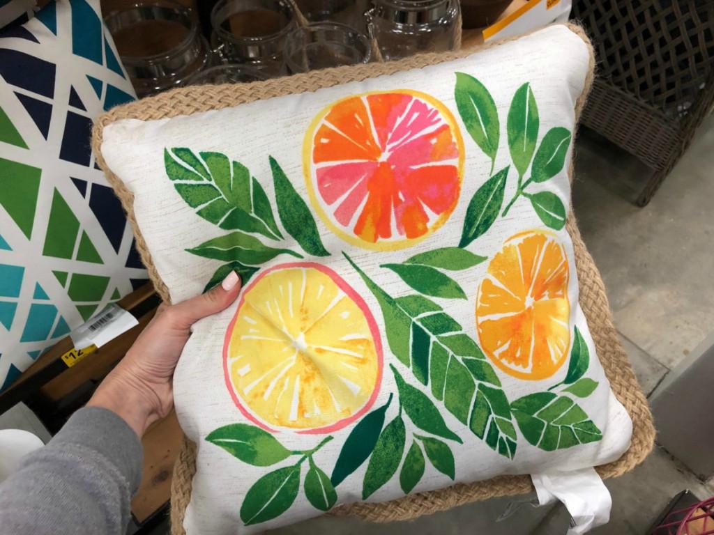 fruit themed throw pillow