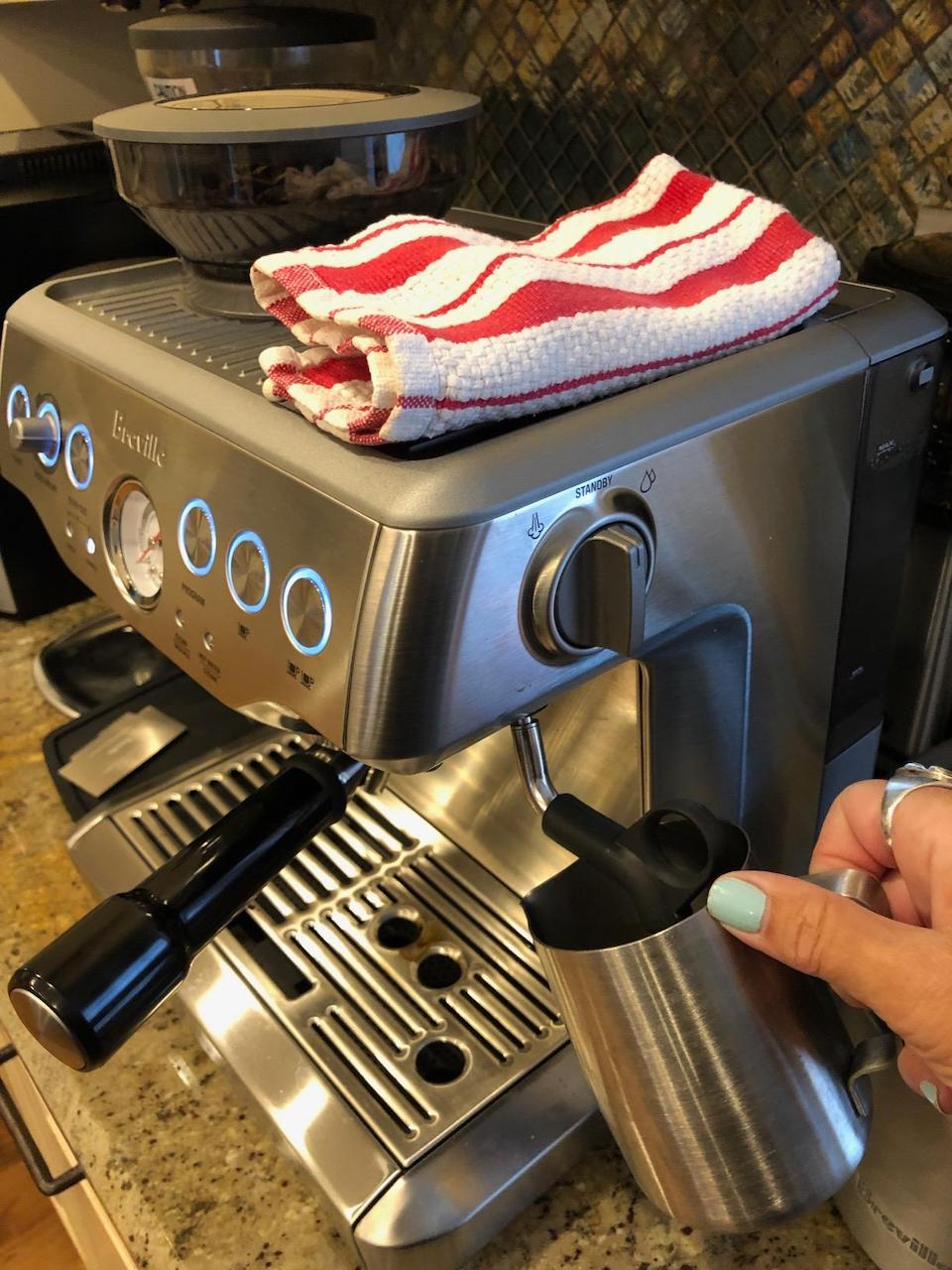 frothing milk with Breville espresso machine