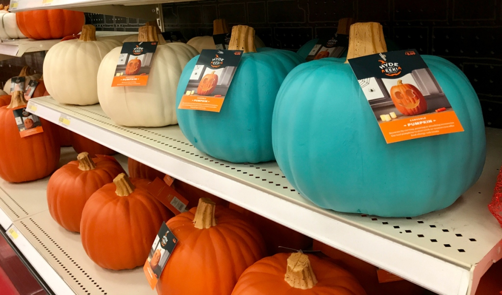 white and teal pumpkins