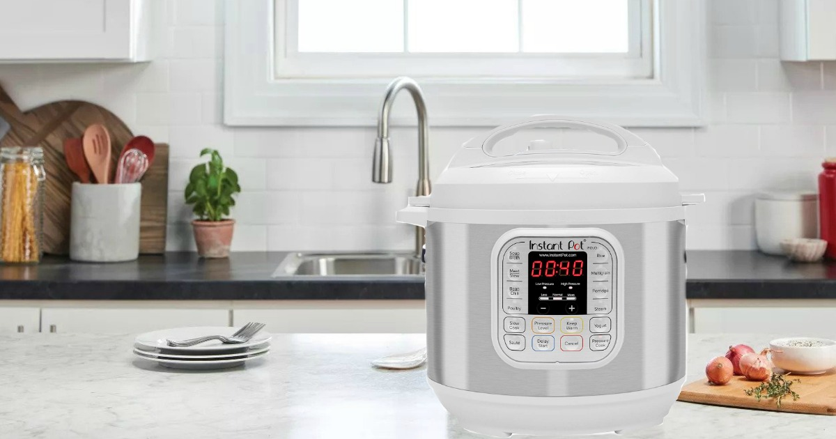 white instant pot duo in kitchen