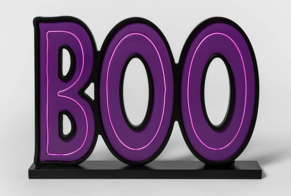 Lit Boo Halloween Tabletop Sign