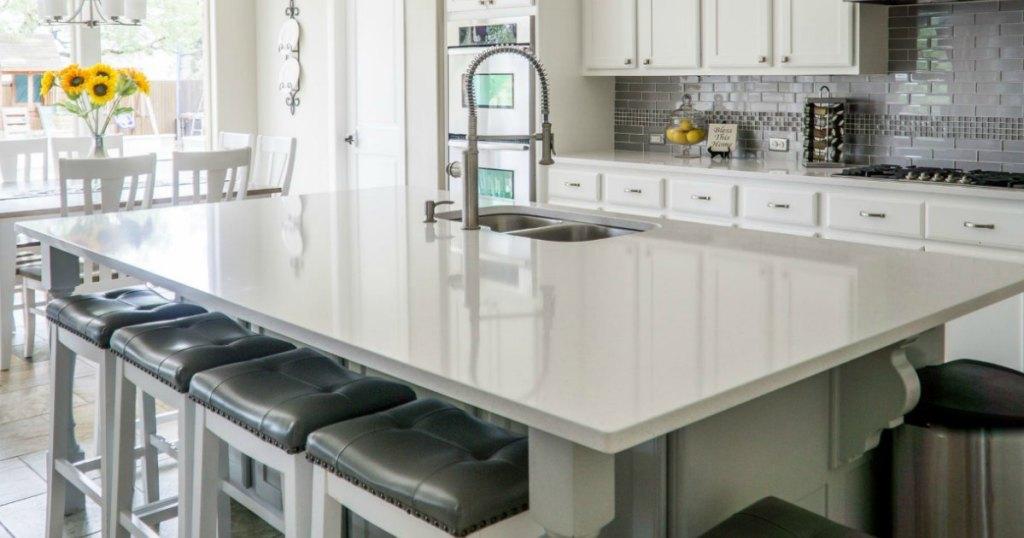 minimalist kitchen with clean kitchen island