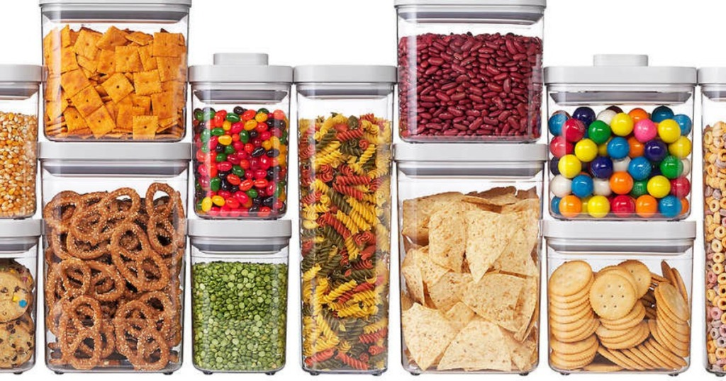 stackable containers fill with pantry essentials