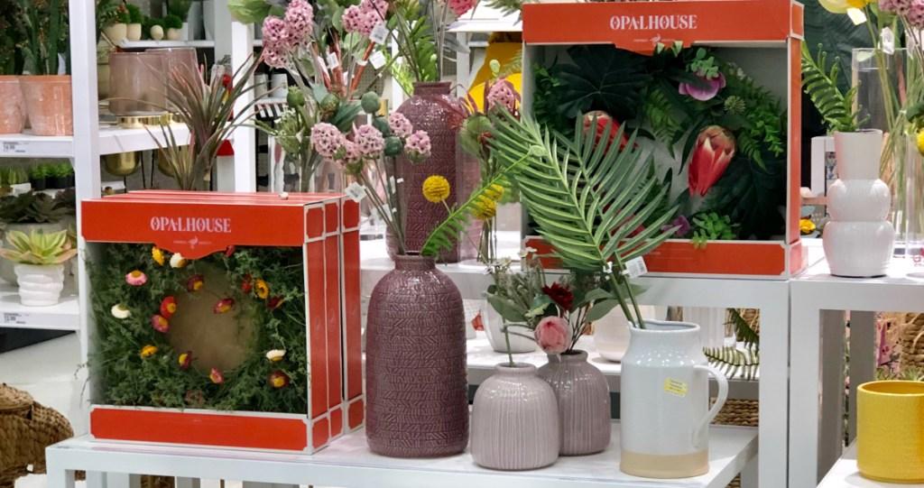 """Opalhouse 17"""" Decorative Straw Flower Wreath"""