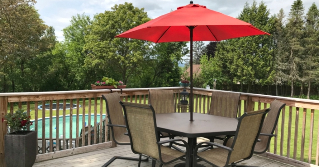red Steel Patio Umbrella