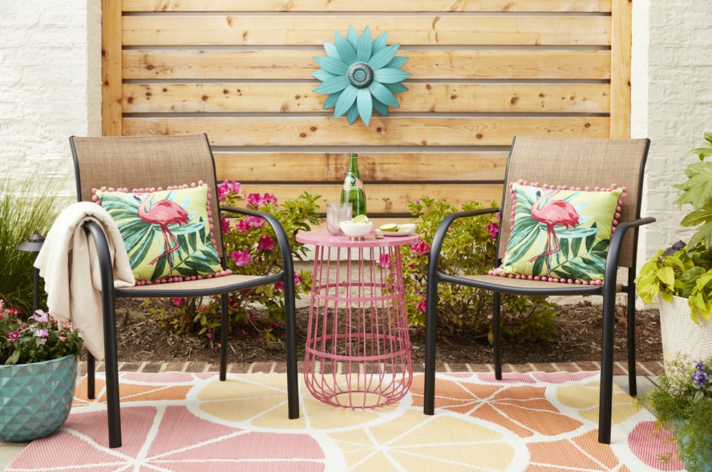 patio with Pink Wire Plant Stand
