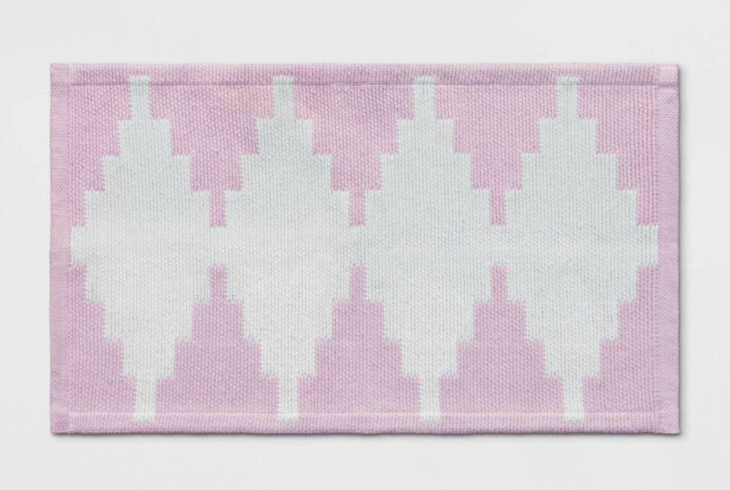 """Room Essentials 20"""" x 34"""" Pink Geometric Woven Accent Rug"""