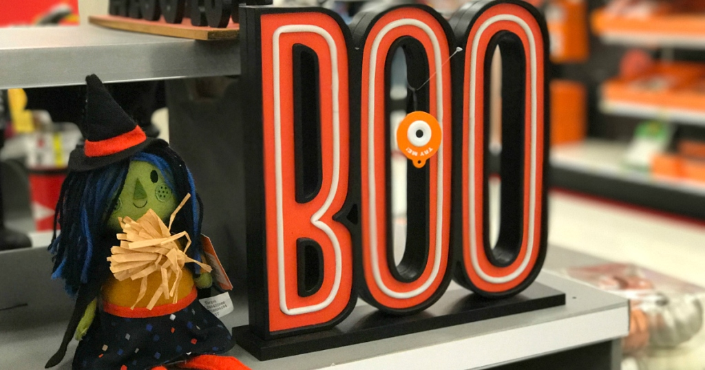 witch next to BOO tabletop decor at Target
