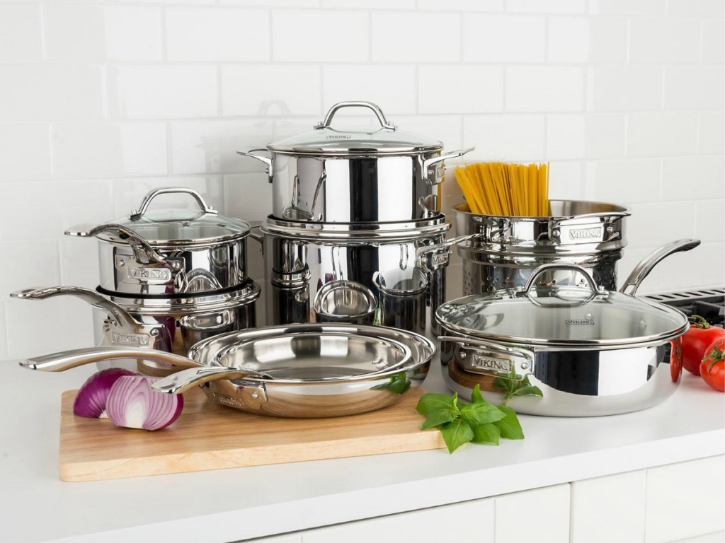 Viking 13-Piece Cookware set on kitchen counter
