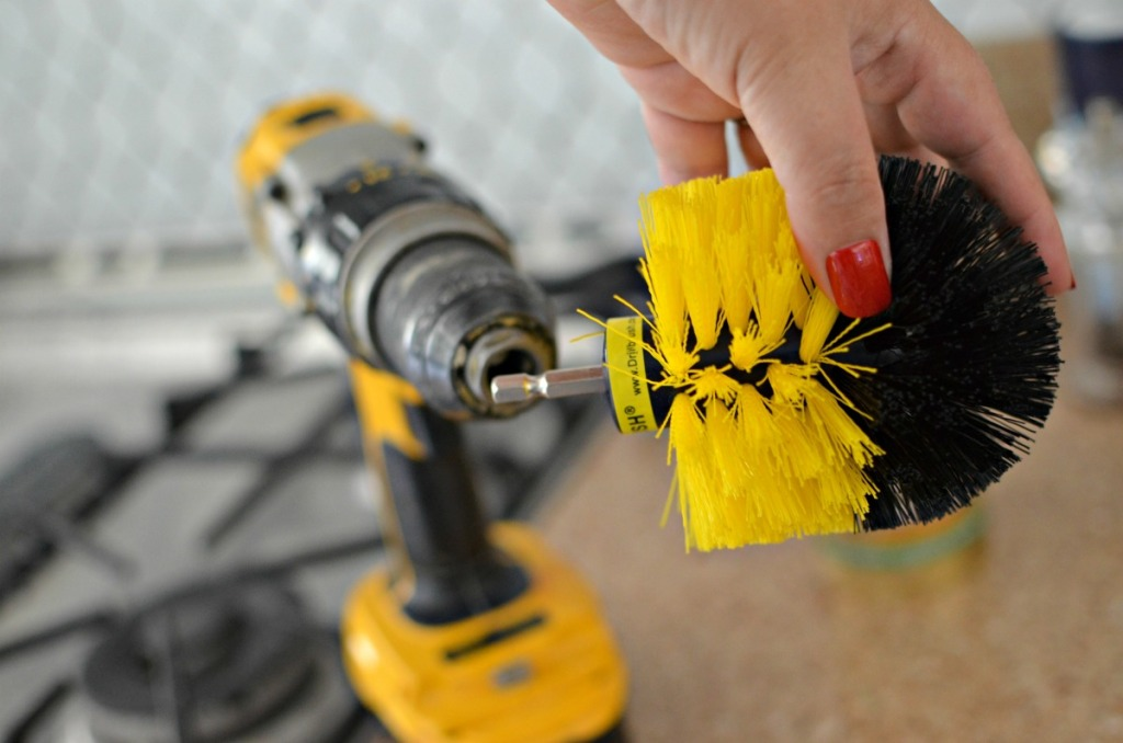 attaching a drillbrush to the drill