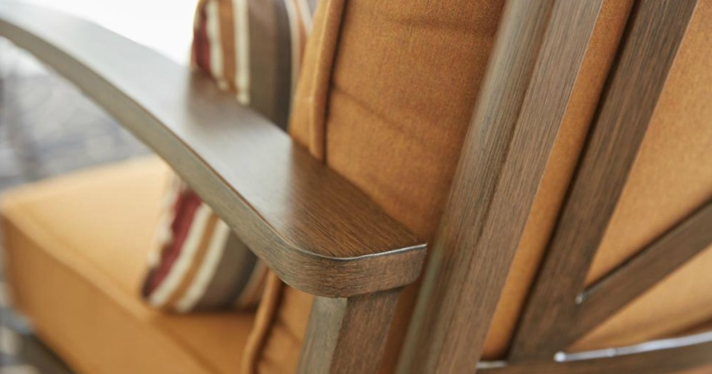 close up of wood looking patio chair