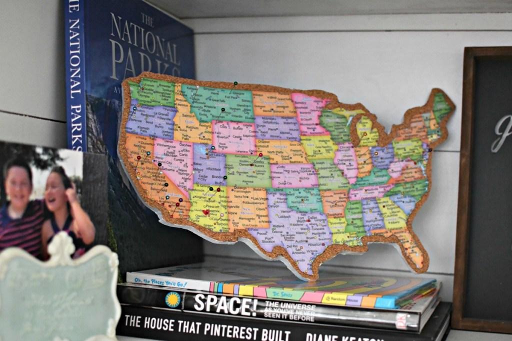 cork board map on a shelf