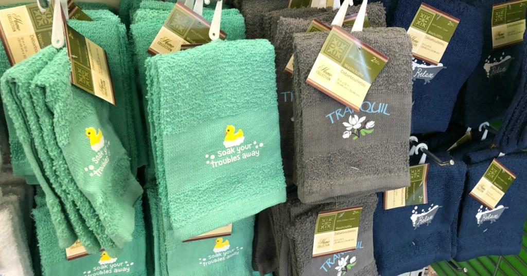 fun bathroom washcloths at Dollar Tree