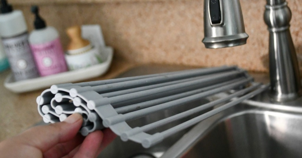 holding foldable drying rack in kitchen