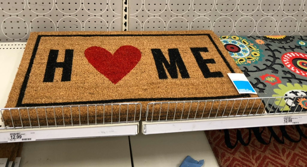 home with heart mat at Target