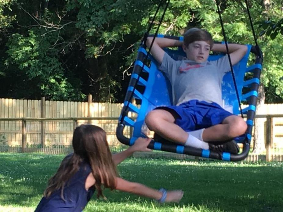 pushing boy on large tree swing