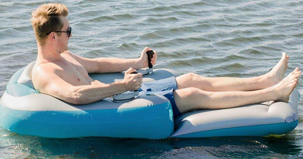 motorized pool lounger in lake