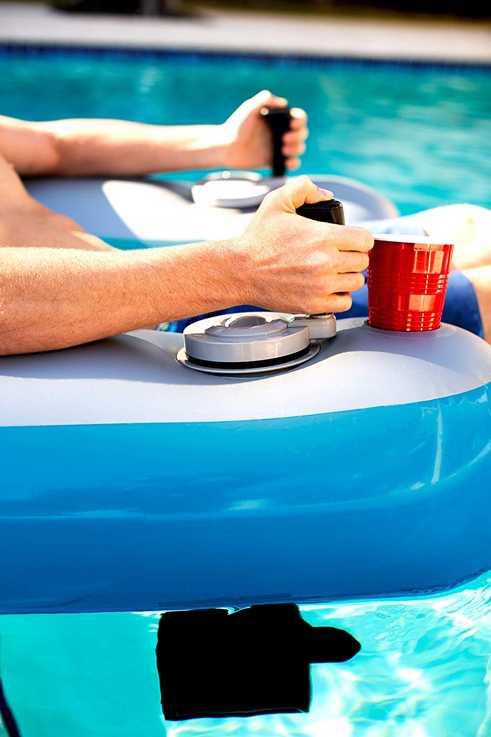 motorized pool float with joy stick controllers