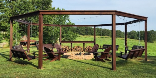 Build this DIY Pergola with Fire Pit for the Ultimate Backyard Experience