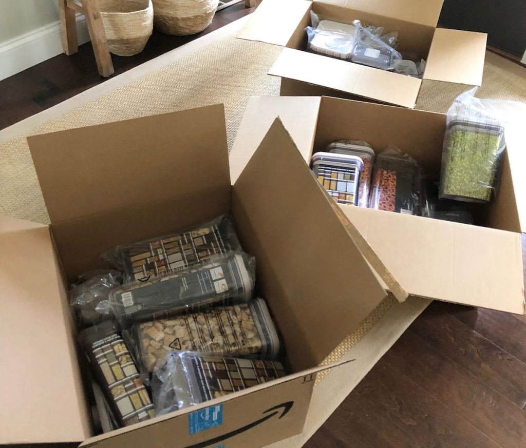 amazon boxes full of plastic containers