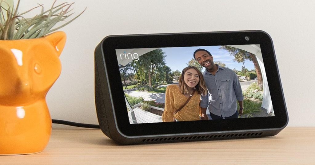 ring doorbell camera showing couple at door on echo show