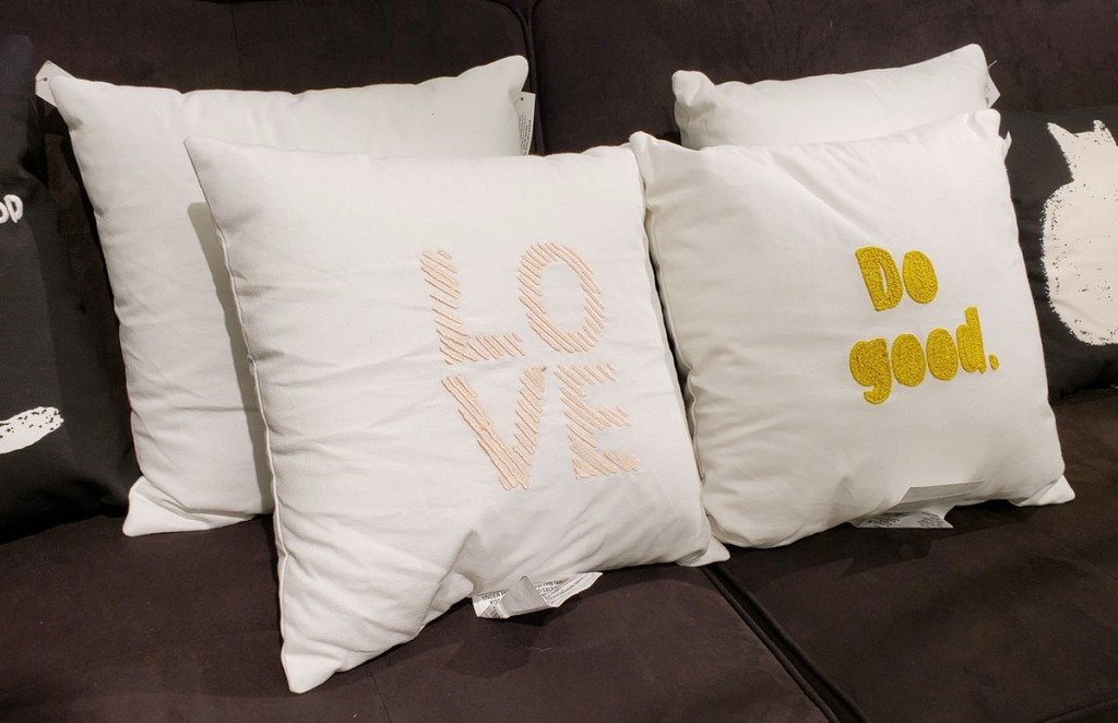 room essentials throw pillows on couch