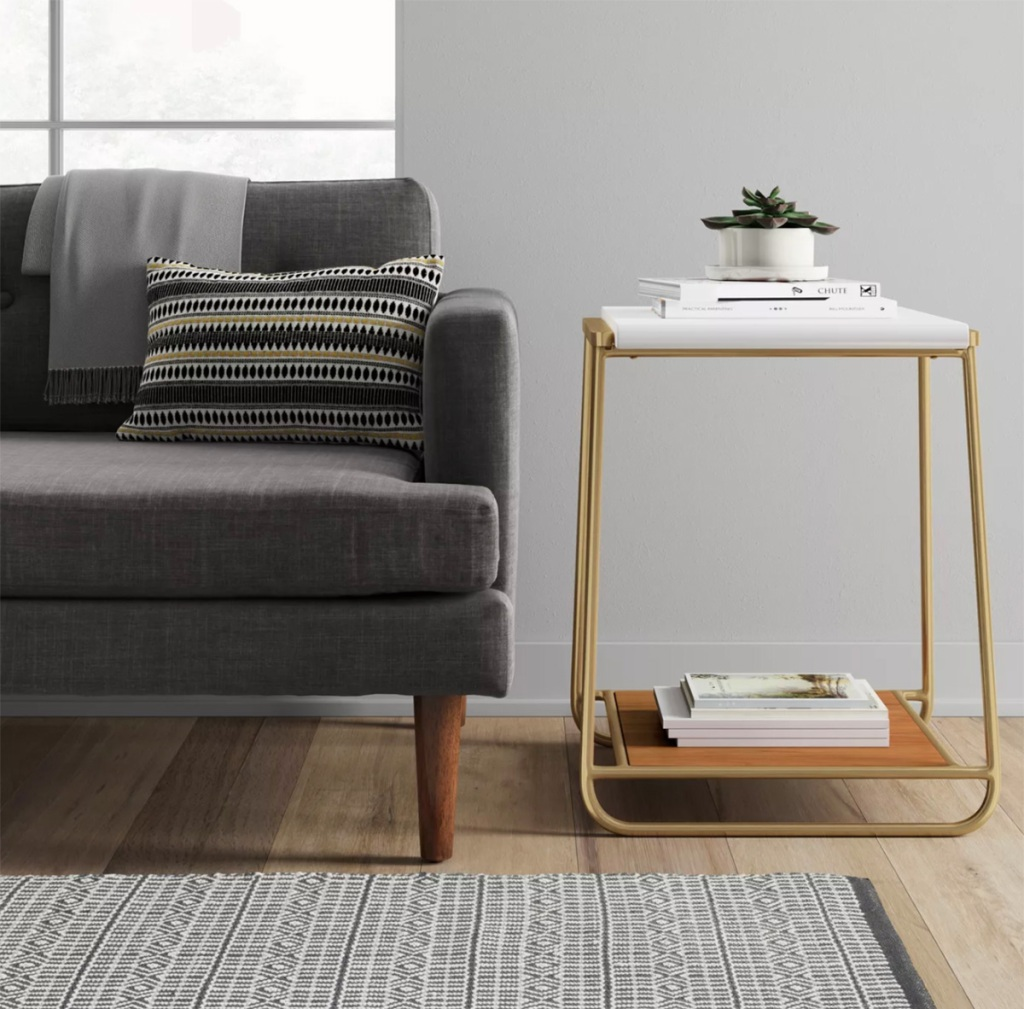 sayer end table next to couch