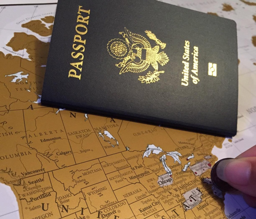 scratch off world map with passport