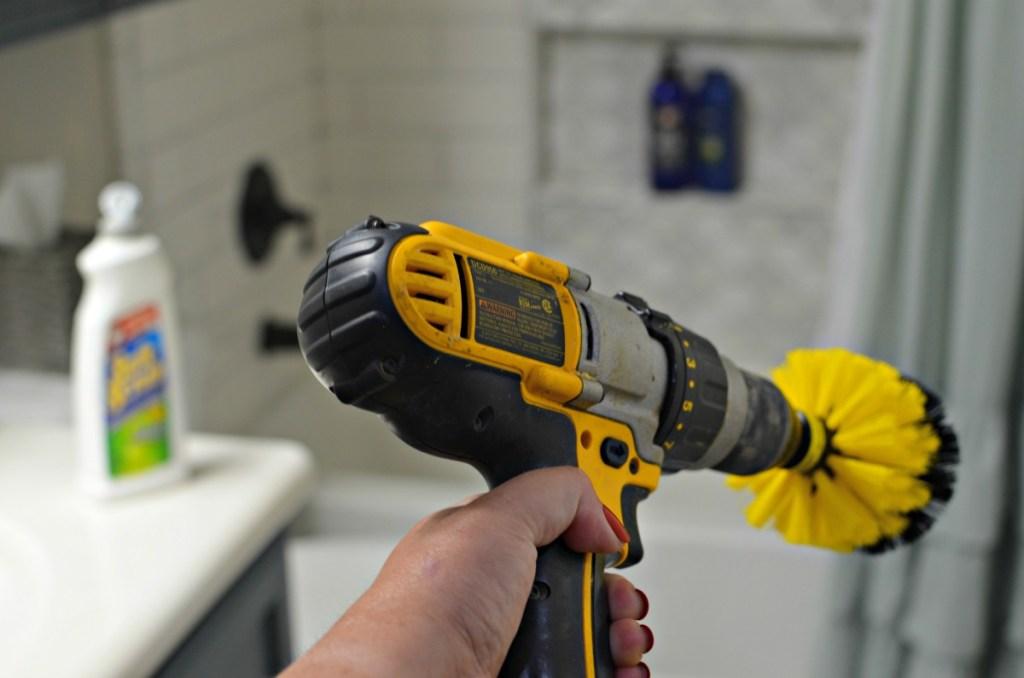 scrubbing bathrooms with drillbrush