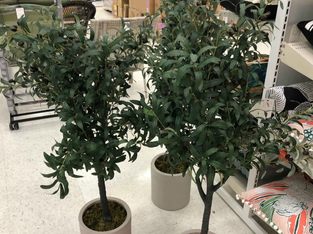 three fake trees sitting on store floor