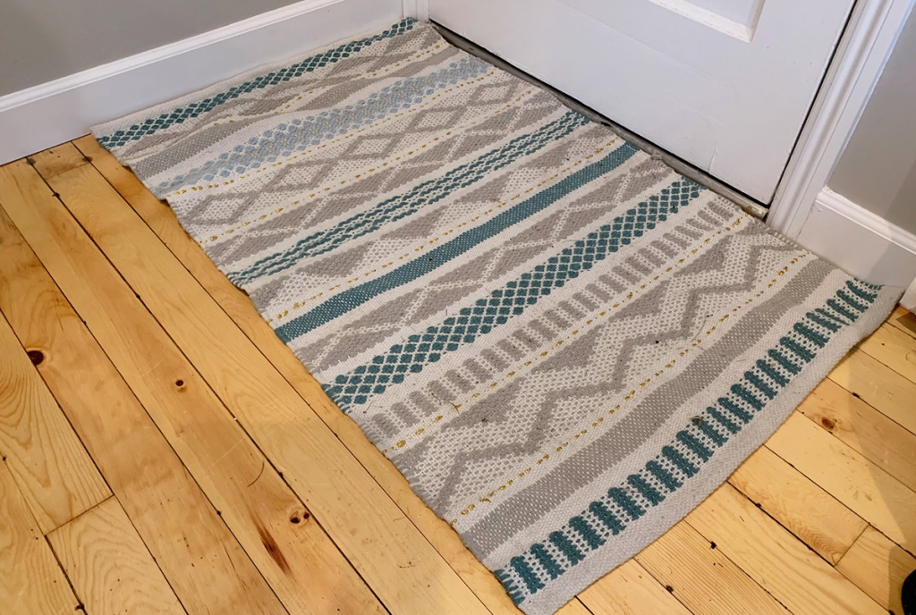 opalhouse teal and cream accent rug from target
