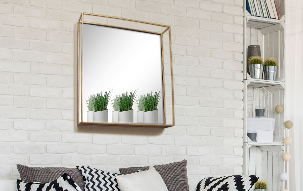 project 62 brass square shelf mirror in living room