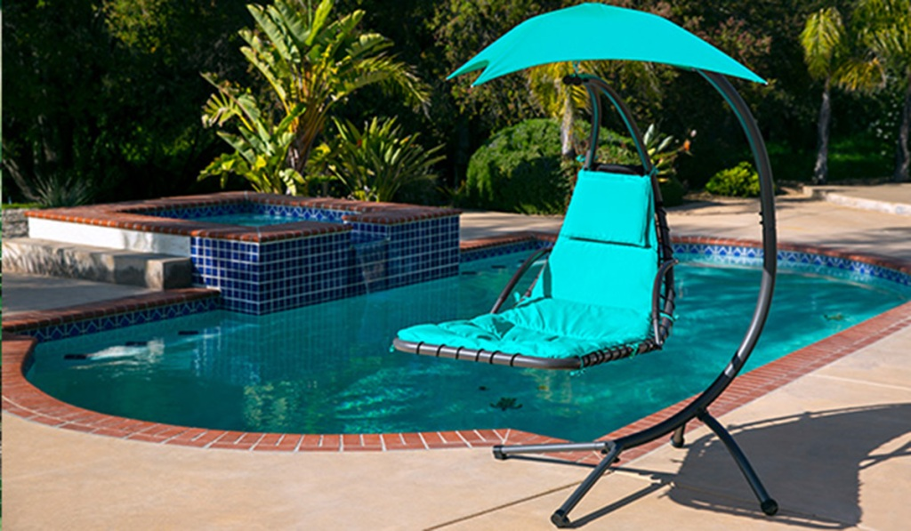 teal hanging lounge chair