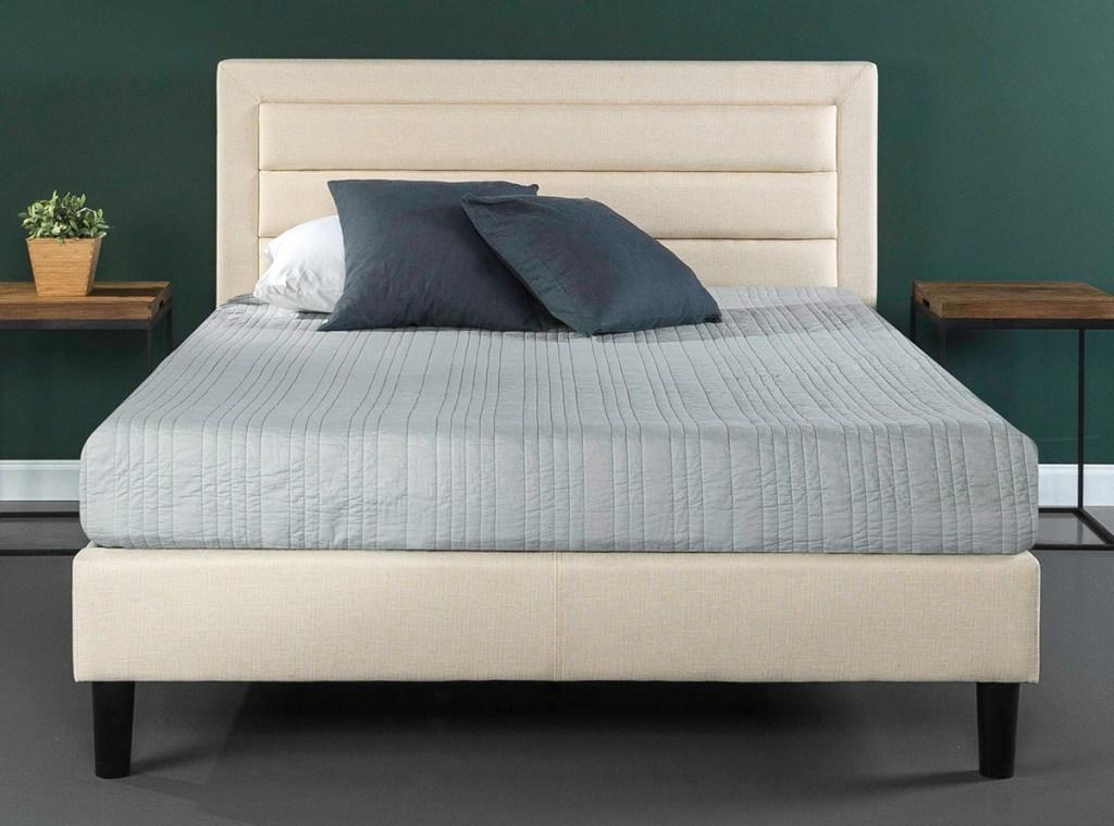 zinus platform bed in bedroom