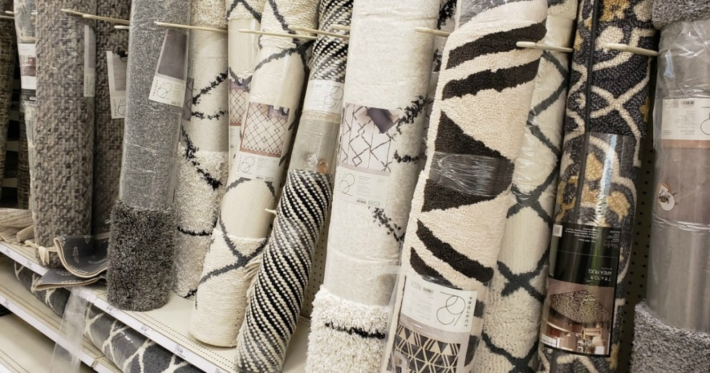 area rugs on shelves at Target