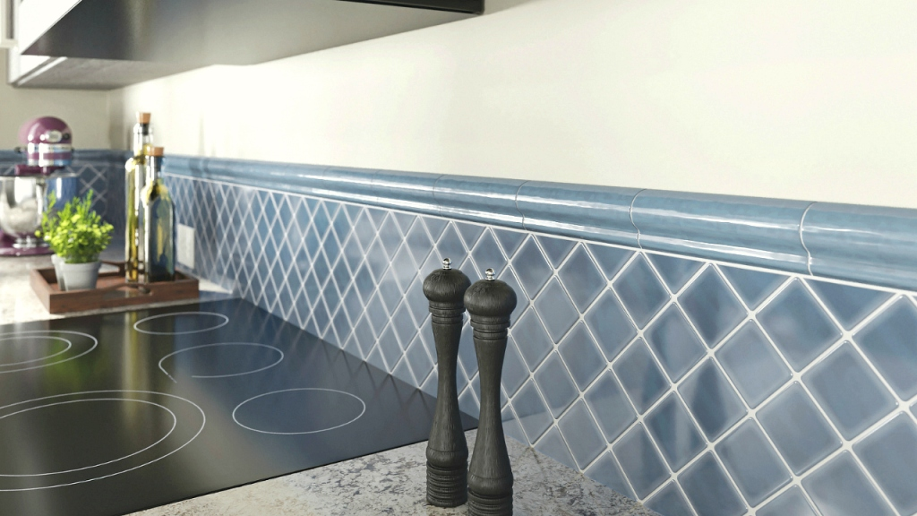 Blue square wall tiles in modern kitchen