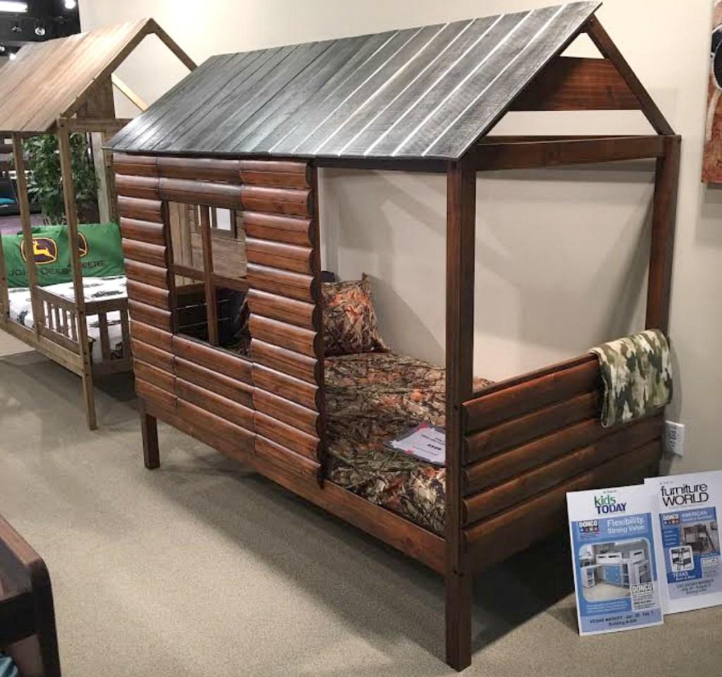 Donco Kids Walnut Finish Log Cabin Low Loft Bed