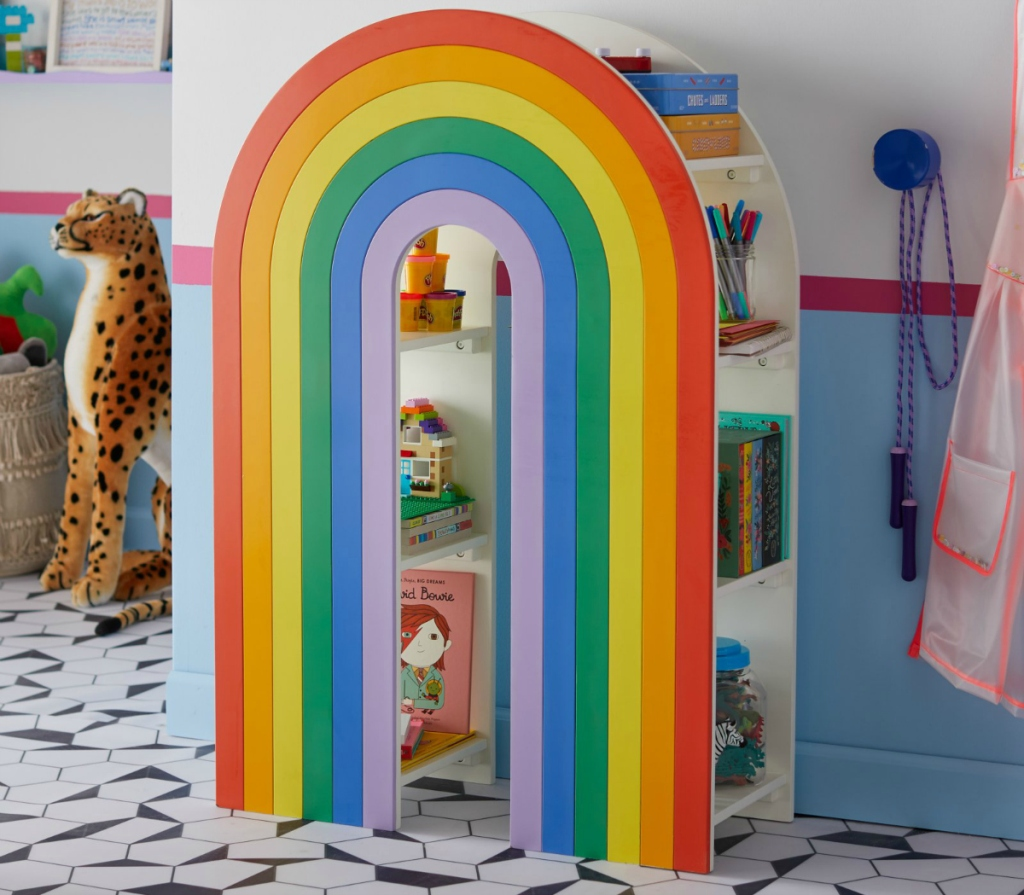 Flower Kids rainbow bookshelf