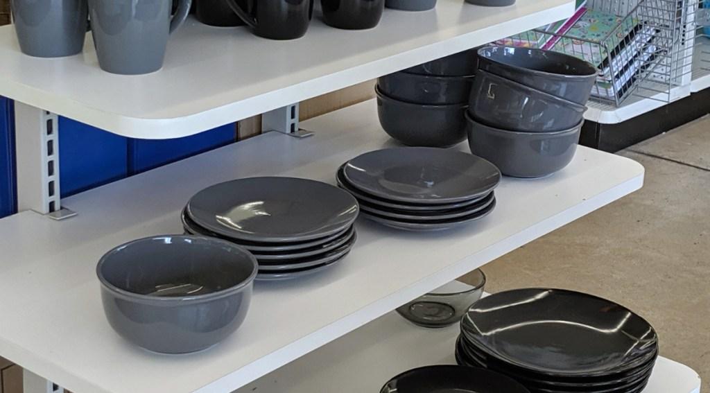 gray bowls and plates