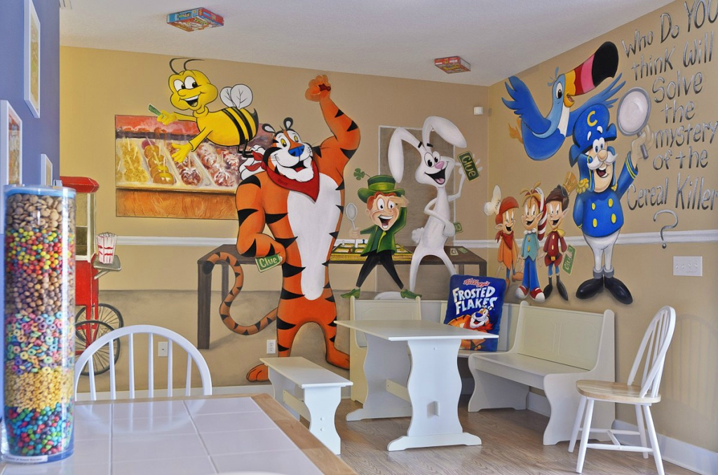 kitchen featuring cereal characters