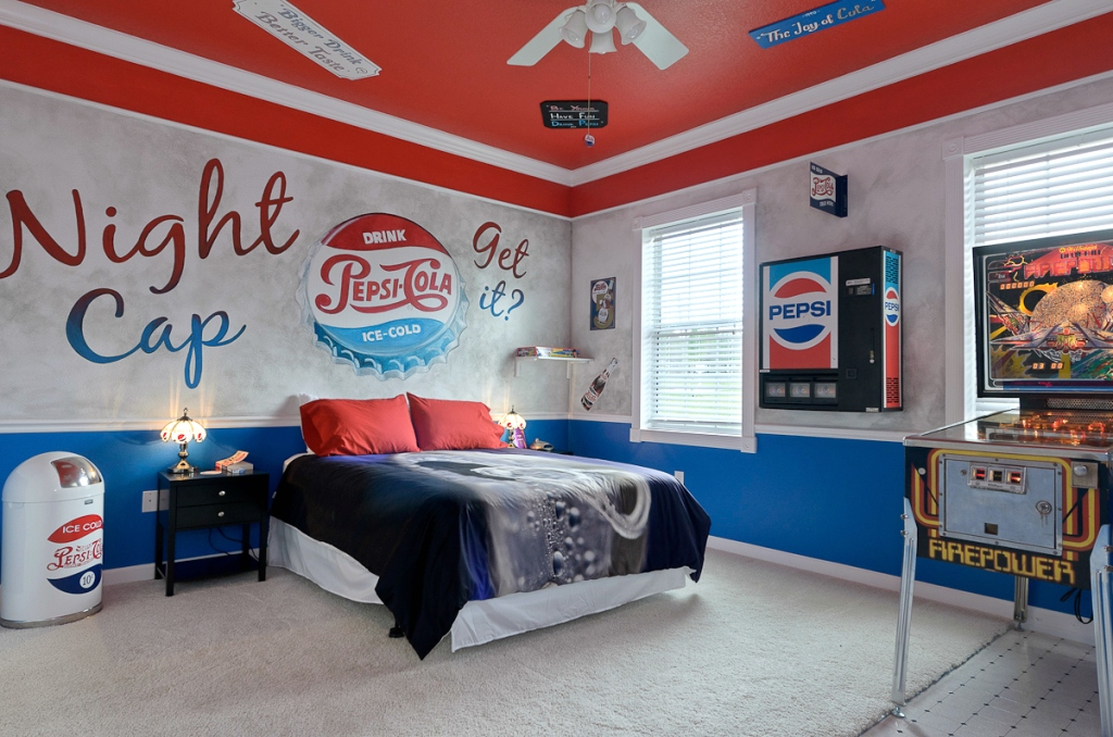 bedroom with Pepsi theme