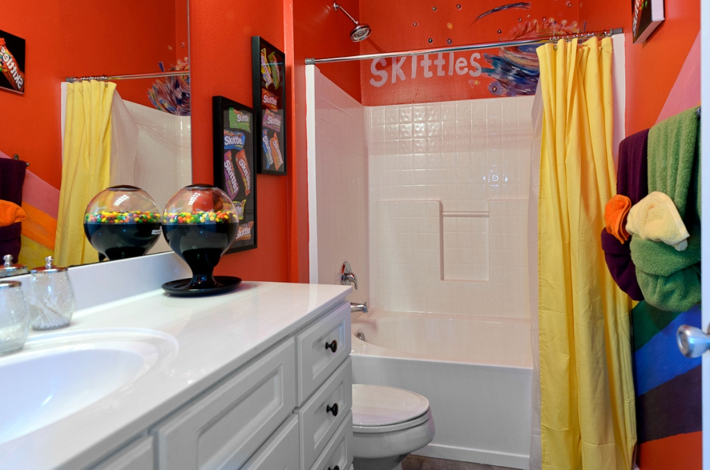 bathroom with skittles theme