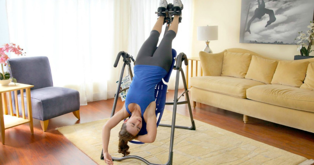 person using inversion table