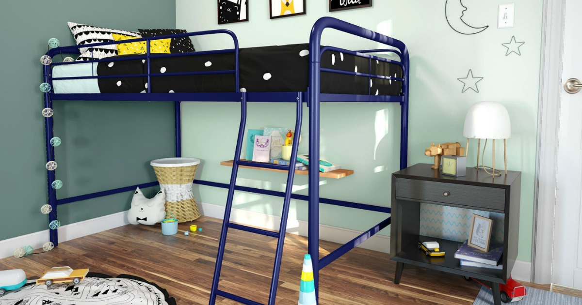 metal loft bed in kids bedroom